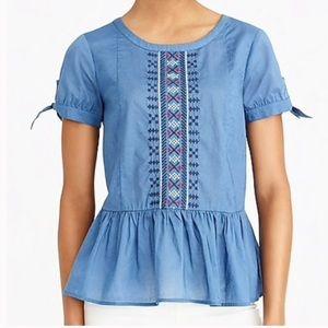 New J.crew Embroidered tie-sleeve Peplum blouse 8M